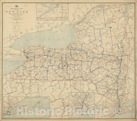 Historical Map, 1889 Post Route map of The State of New York and Parts of Vermont, Massachusetts, Connecticut, New Jersey, and Pennsylvania, Vintage Wall Art