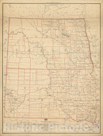 Historical Map, 1895 Post Route map of The States of North and South Dakota with Adjacent Parts of Montana, Wyoming, Nebraska, Iowa and Minnesota, Vintage Wall Art