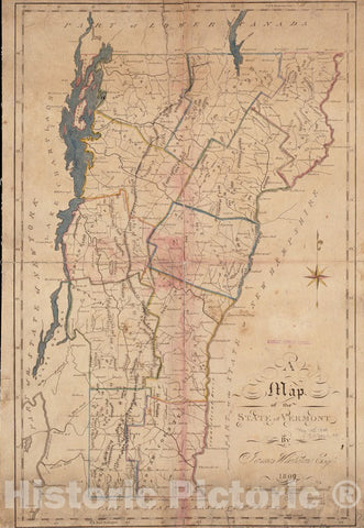 Historical Map, 1809 A map of The State of Vermont, Vintage Wall Art