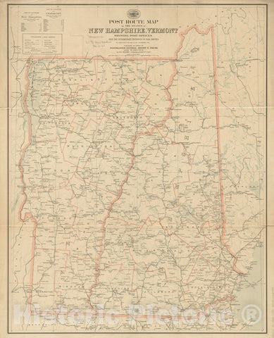 Historical Map, 1903 Post Route map of The States of New Hampshire, Vermont Showing Post Offices with The Intermediate Distances on Mail Route, 1903, Vintage Wall Art