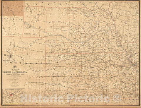 Historical Map, 1891 Post Route map of The States of Kansas and Nebraska with Adjacent Parts of Missouri, Iowa, Dakota, Colorado, Texas, and Indian Territory, Vintage Wall Art