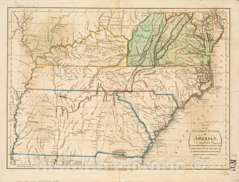 Historical Map, 1795 Map of the southern states of America, comprehending Maryland, Virginia, Kentucky, Territory s'th of the Ohio, North Carolina, Tennessee, Vintage Wall Art