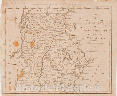 Historical Map, 1796 A map of The States of New Hampshire and Vermont, Vintage Wall Art