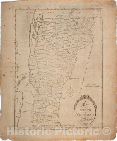 Historical Map, 1793 A map of The State of Vermont, Vintage Wall Art