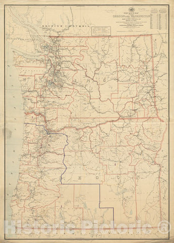 Historical Map, 1895 Post Route map of The States of Oregon and Washington with Adjacent States of Idaho, Nevada, California and British Columbia, Vintage Wall Art