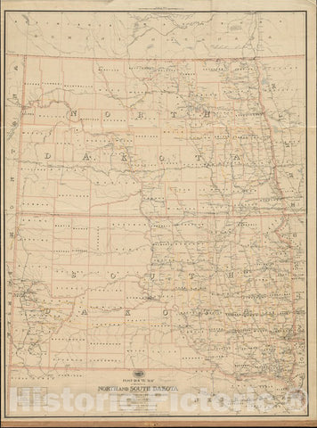 Historical Map, 1891 Post Route map of The States of North and South Dakota with Adjacent Parts of Montana, Wyoming, Nebraska, Iowa and Minnesota, Vintage Wall Art