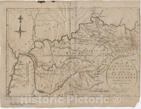 Historical Map, 1796 A map of The State of Kentucky and The Tennessee Government, Vintage Wall Art