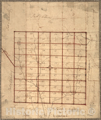Historical Map, 1780-1789 The Above is a Plan of The Town of Cabot, State of Vermont, Vintage Wall Art