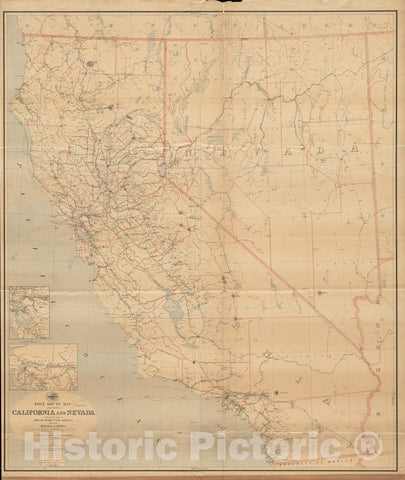 Historical Map, 1889 Post Route map of The States of California and Nevada with Adjacent Parts of Oregon, Idaho, Utah, Arizona and of The Republic of Mexico, Vintage Wall Art