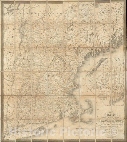 Historical Map, 1826 A map of The New England States : Maine, New Hampshire, Vermont, Massachusetts, Rhode Island & Connecticut, Vintage Wall Art