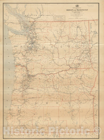 Historical Map, 1891 Post route map of the states of Oregon and Washington with adjacent states of Idaho, Nevada, California and British Columbia, Vintage Wall Art
