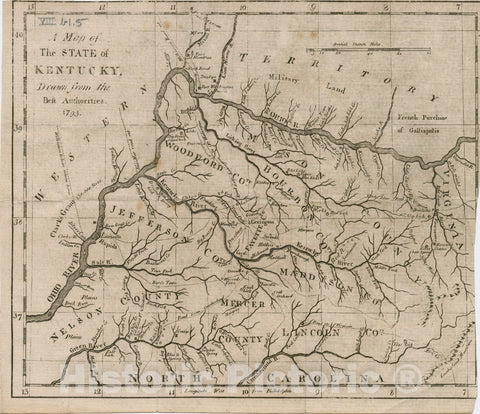 Historical Map, 1793 A map of The State of Kentucky, Vintage Wall Art