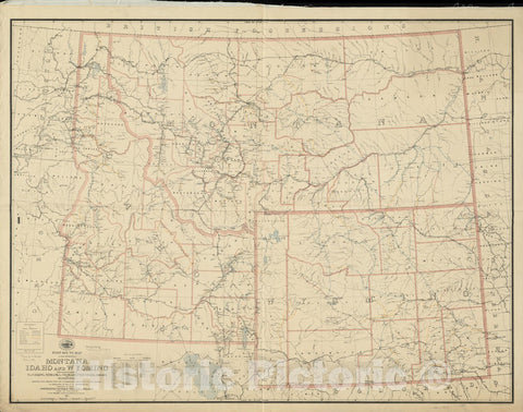 Historical Map, 1895 Post Route map of The States of Montana, Idaho and Wyoming with Adjacent Parts of N. & S. Dakota, Nebraska, Colorado, Utah, Nevada, Oregon, Vintage Wall Art