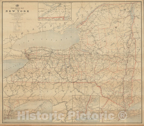 Historical Map, 1891 Post route map of the State of New York and parts of Vermont, Massachusetts, Connecticut, New Jersey, and Pennsylvania, Vintage Wall Art