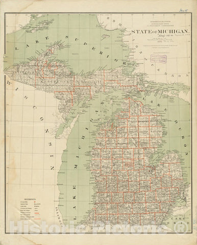 Historical Map, 1878 State of Michigan, Vintage Wall Art