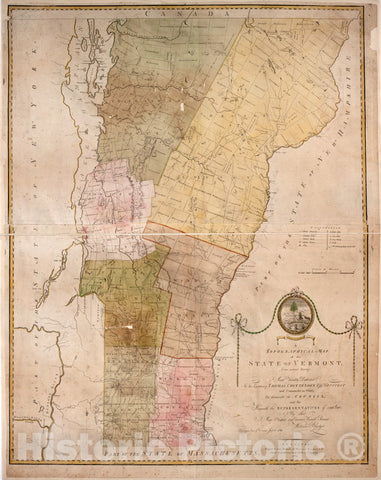 Historical Map, 1789 A Topographical map of The State of Vermont, from Actual Survey. : Most Humbly Dedicated to His Excellency Thomas Chittenden Esqr, Vintage Wall Art