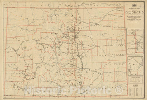 Historical Map, 1897 Post Route map of The State of Colorado Showing Post Offices with The Intermediate Distances on Mail Routes in Operation on The 1st of Sept. 1897, Vintage Wall Art