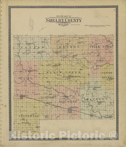 Historic 1902 Map - Standard Atlas of Shelby County, Missouri : Including a plat Book of The Villages, Cities and townships of The County, map of The State - Shelbina