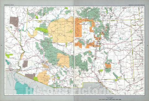 Historic 1970 Map - The National Atlas of The United States of America. - Arizona and New Mexico
