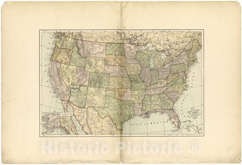 Historic 1896 Map - Johnson's Atlas, Clark County, Missouri - Map of The United States of America - Johnson's Clark Co. Atlas