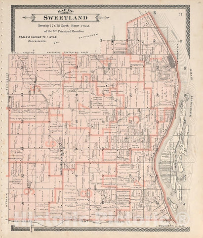 Historic 1899 Map - Atlas of Muscatine County, Iowa : containing maps of Villages, Cities and townships of The County, maps of State - Map of Part of Lake and Pike Twp.