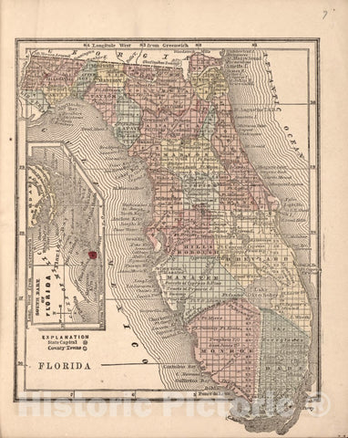Historic 1861 Map - The Campaign Atlas, for 1861 : United States. - Florida