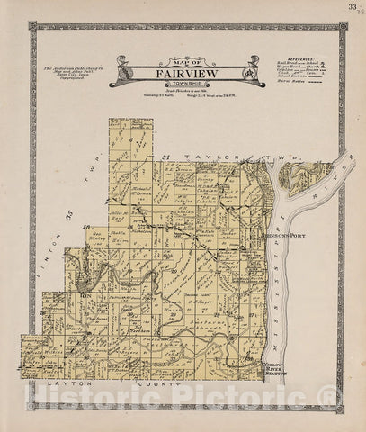 Historic 1917 Map - Atlas of Allamakee County, Iowa : containing maps of townships of The County, maps of State, United States and World, Farmers Directory - Linton Township