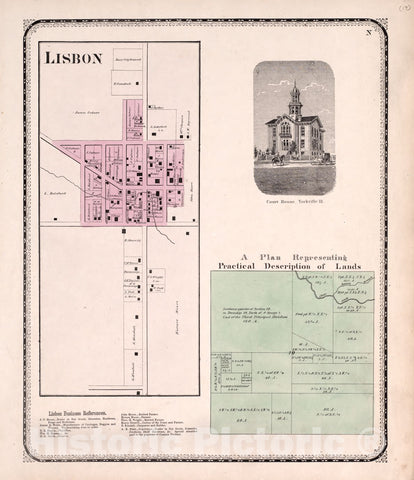 Historic 1870 Map - Atlas of Kendall Co. and The State of Illinois - Lisbon; View of Court House, Yorkville; Practical Description of Lands