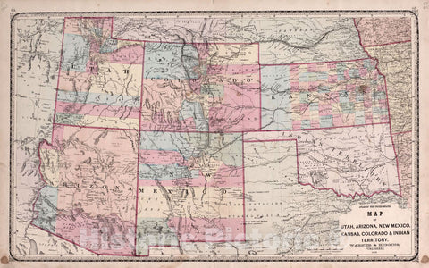 Historic 1870 Map - Atlas of Kendall Co. and The State of Illinois - Utah, Arizona, New Mexico, Kansas, Colorado & Indian Territory