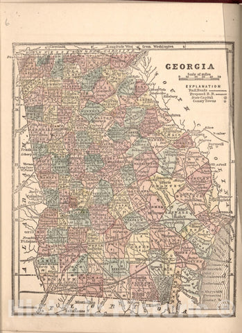 Historic 1861 Map - The Campaign Atlas, for 1861 : United States. - Georgia