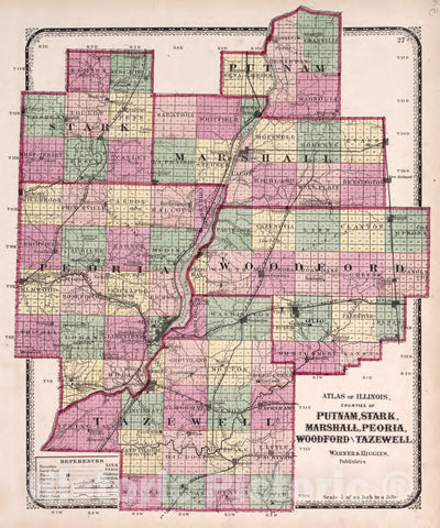 Historic 1870 Map - Atlas of Kendall Co. and The State of Illinois - Counties of Putnam, Stark, Marshall, Peoria, Woodford and Tazewell