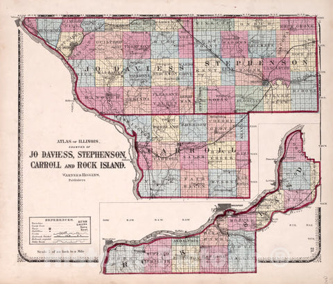 Historic 1870 Map - Atlas of Kendall Co. and The State of Illinois - Counties of Jo Daviess, Stephenson, Carroll and Rock Island