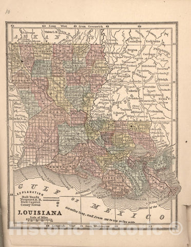 Historic 1861 Map - The Campaign Atlas, for 1861 : United States. - Louisiana
