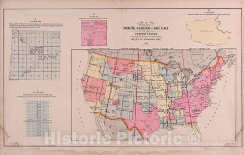 Historic 1905 Map - Plat Book of St. Charles County, Missouri - Map Showing The Prime Meridians and Base Lines in The United States - Plat Book of Saint Charles County, Missouri