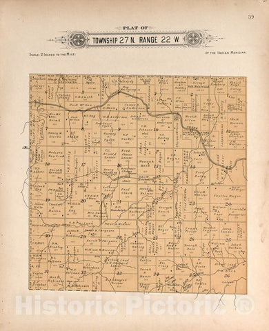 Historic 1910 Map - Plat Book of Harper County, Oklahoma : containing maps of Villages, Cities and townships of The County, and of The State - Township 27 Range 25 W