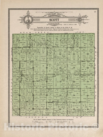 Historic 1914 Map - Atlas and plat Book of Poweshiek County, Iowa - Kenyon's Parcel Post Map of The United States - Standard Atlas and Directory of Poweshiek County, Iowa