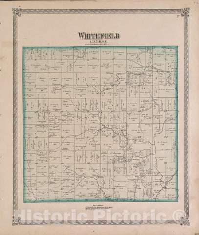 Historic 1870 Map - Atlas of Marshall Co. and The State of Illinois - Whitefield - Atlas of Marshall County and The State of Illinois