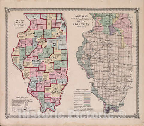 Historic 1870 Map - Atlas of Marshall Co. and The State of Illinois - Political map of Illinois - Atlas of Marshall County and The State of Illinois