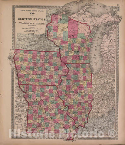 Historic 1870 Map - Atlas of Marshall Co. and The State of Illinois - Map of The Central States, Warner and Beers - Atlas of Marshall County and The State of Illinois