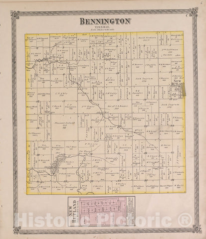 Historic 1870 Map - Atlas of Marshall Co. and The State of Illinois - Bennington - Atlas of Marshall County and The State of Illinois
