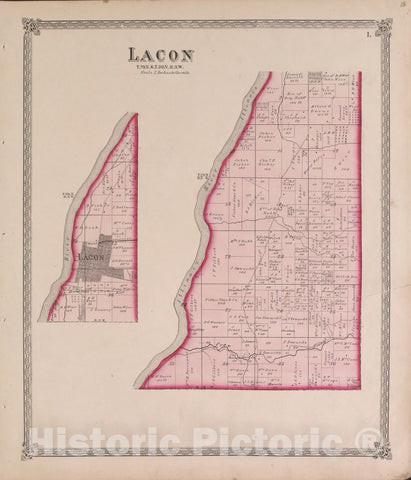 Historic 1870 Map - Atlas of Marshall Co. and The State of Illinois - Lacon - Atlas of Marshall County and The State of Illinois