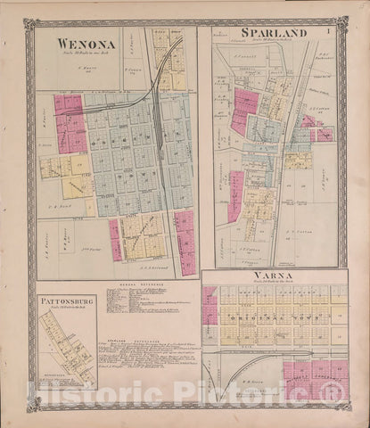 Historic 1870 Map - Atlas of Marshall Co. and The State of Illinois - Wenona and Sparland - Atlas of Marshall County and The State of Illinois