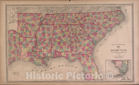 Historic 1870 Map - Atlas of Marshall Co. and The State of Illinois - Map of The Southern States - Atlas of Marshall County and The State of Illinois