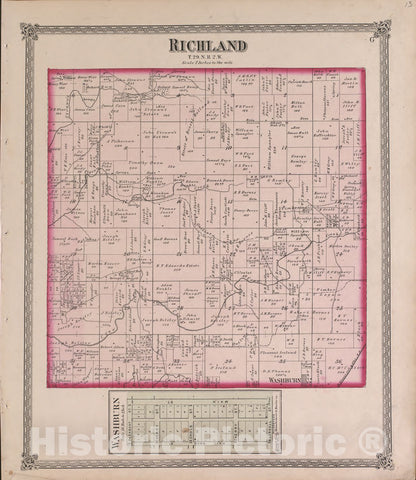 Historic 1870 Map - Atlas of Marshall Co. and The State of Illinois - Richland - Atlas of Marshall County and The State of Illinois
