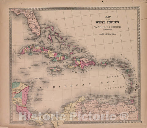 Historic 1870 Map - Atlas of Marshall Co. and The State of Illinois - Map of West Indies - Atlas of Marshall County and The State of Illinois