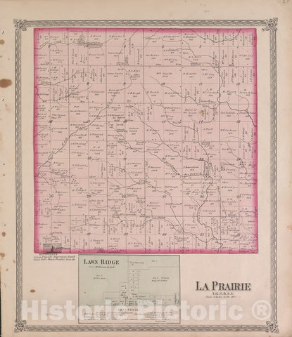 Historic 1870 Map - Atlas of Marshall Co. and The State of Illinois - La Prairie - Atlas of Marshall County and The State of Illinois
