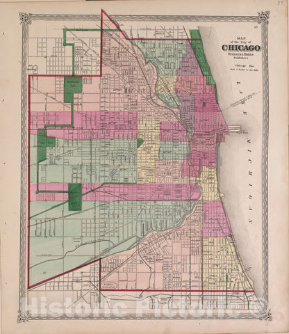 Historic 1870 Map - Atlas of Marshall Co. and The State of Illinois - Map of The City of Chicago - Atlas of Marshall County and The State of Illinois