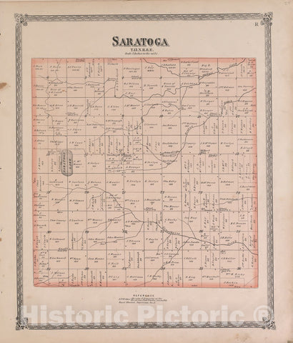 Historic 1870 Map - Atlas of Marshall Co. and The State of Illinois - Saratoga - Atlas of Marshall County and The State of Illinois