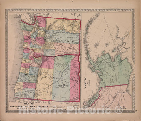 Historic 1870 Map - Atlas of Marshall Co. and The State of Illinois - Map of Washington and Oregon - Atlas of Marshall County and The State of Illinois