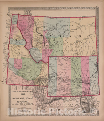 Historic 1870 Map - Atlas of Marshall Co. and The State of Illinois - Map of Montana, Idaho, and Wyoming, Warner and Beers - Atlas of Marshall County and The State of Illinois